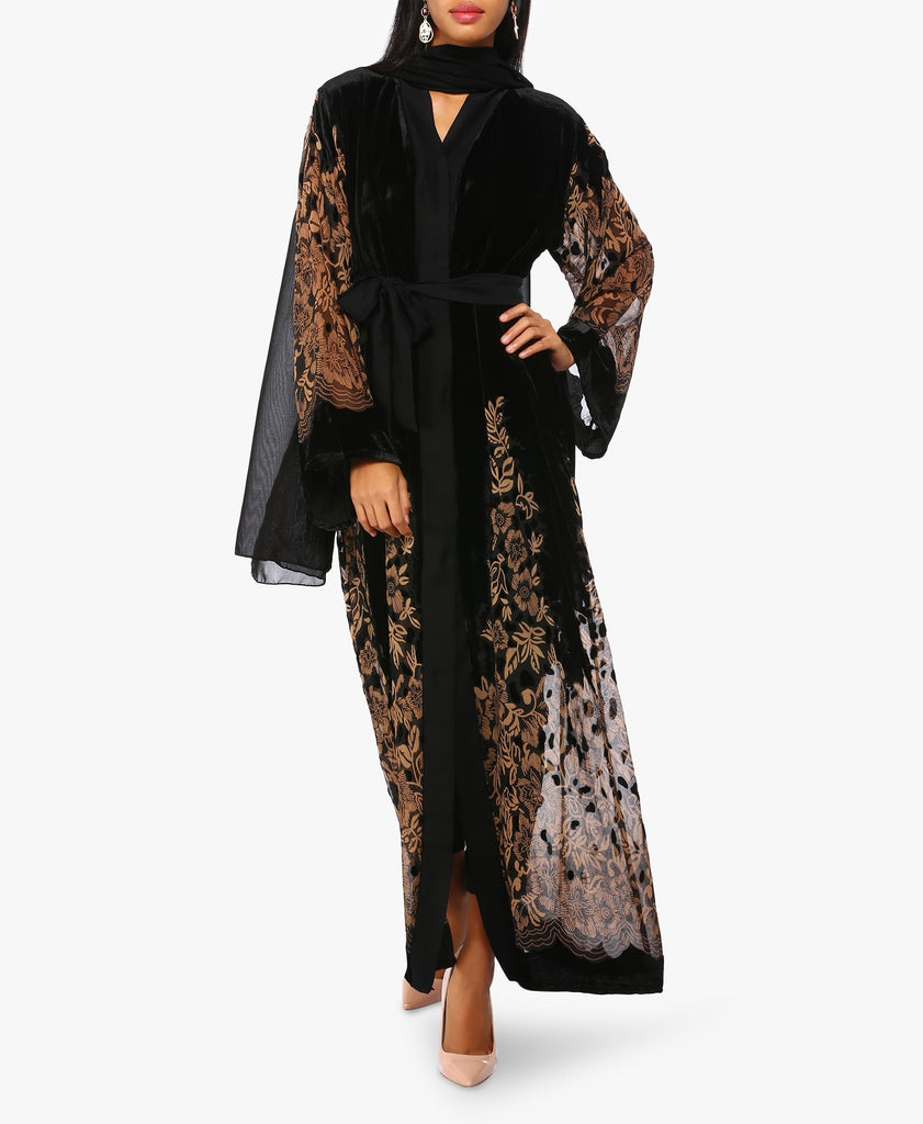 Black And Brown Printed Velvet Abaya