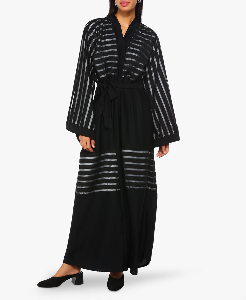 Black Contrast Striped Abaya