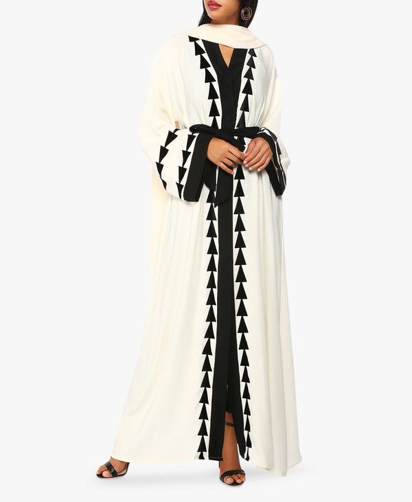 Off-White And Black Embroidered Hem Abaya
