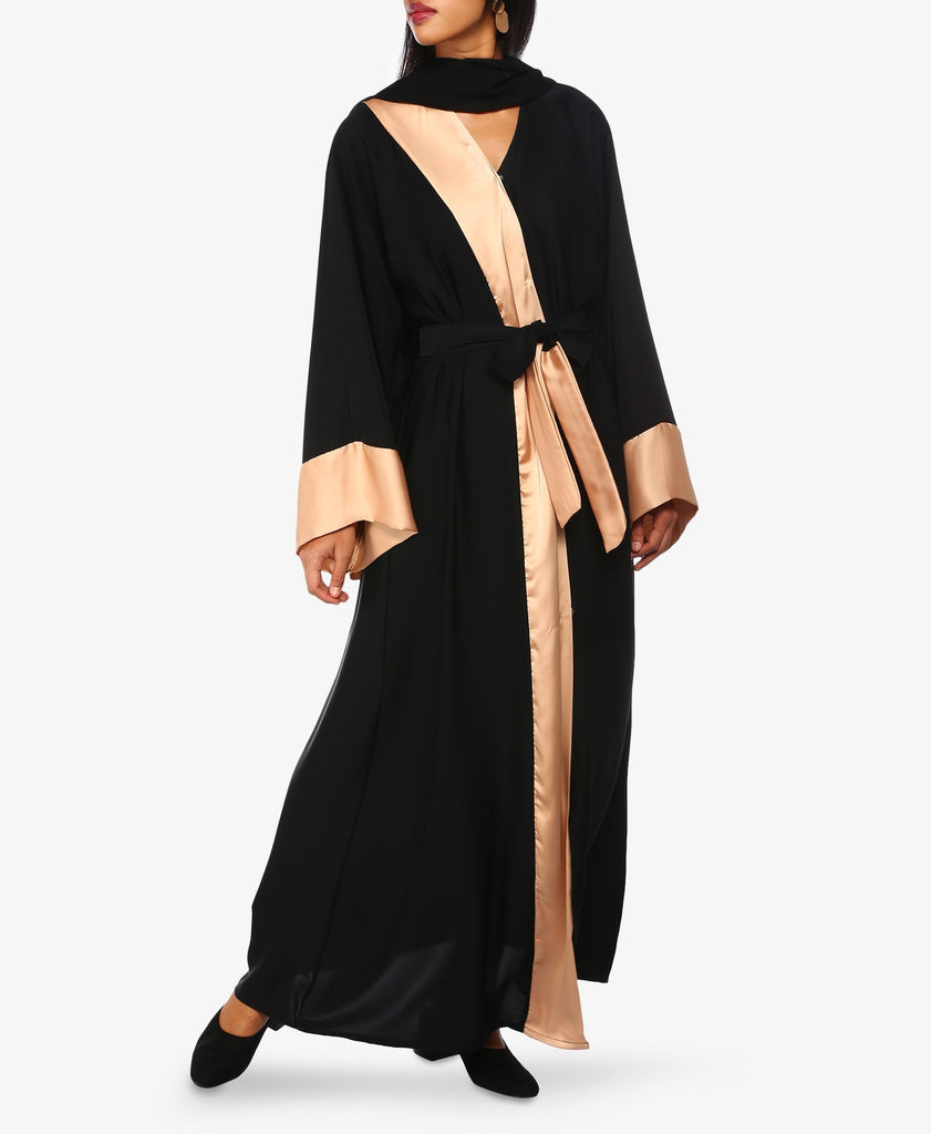 Black And Nude Colour Block Abaya