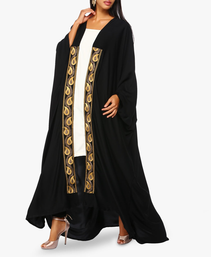 Black Contrast Embroidered Abaya