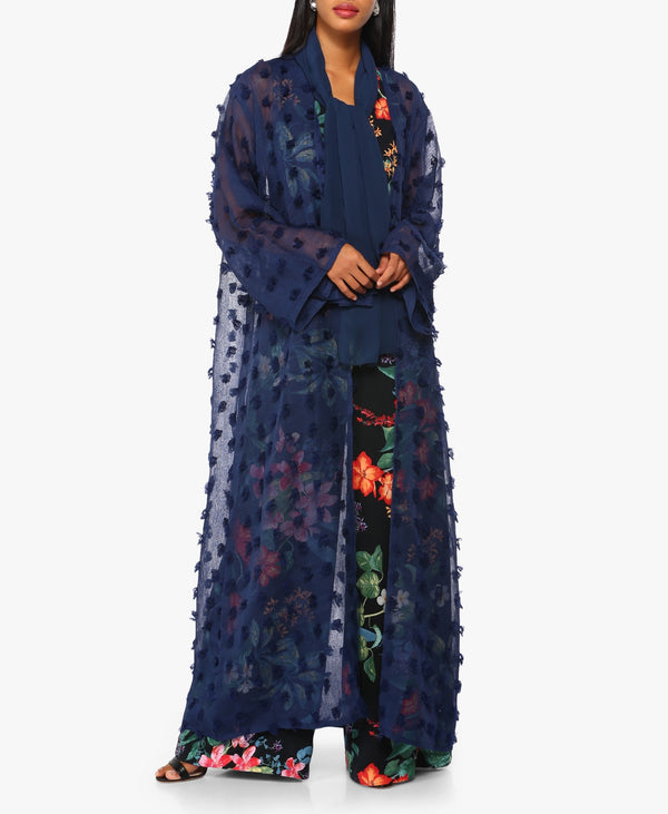 Navy Blue Sheer Textured Pattern Abaya
