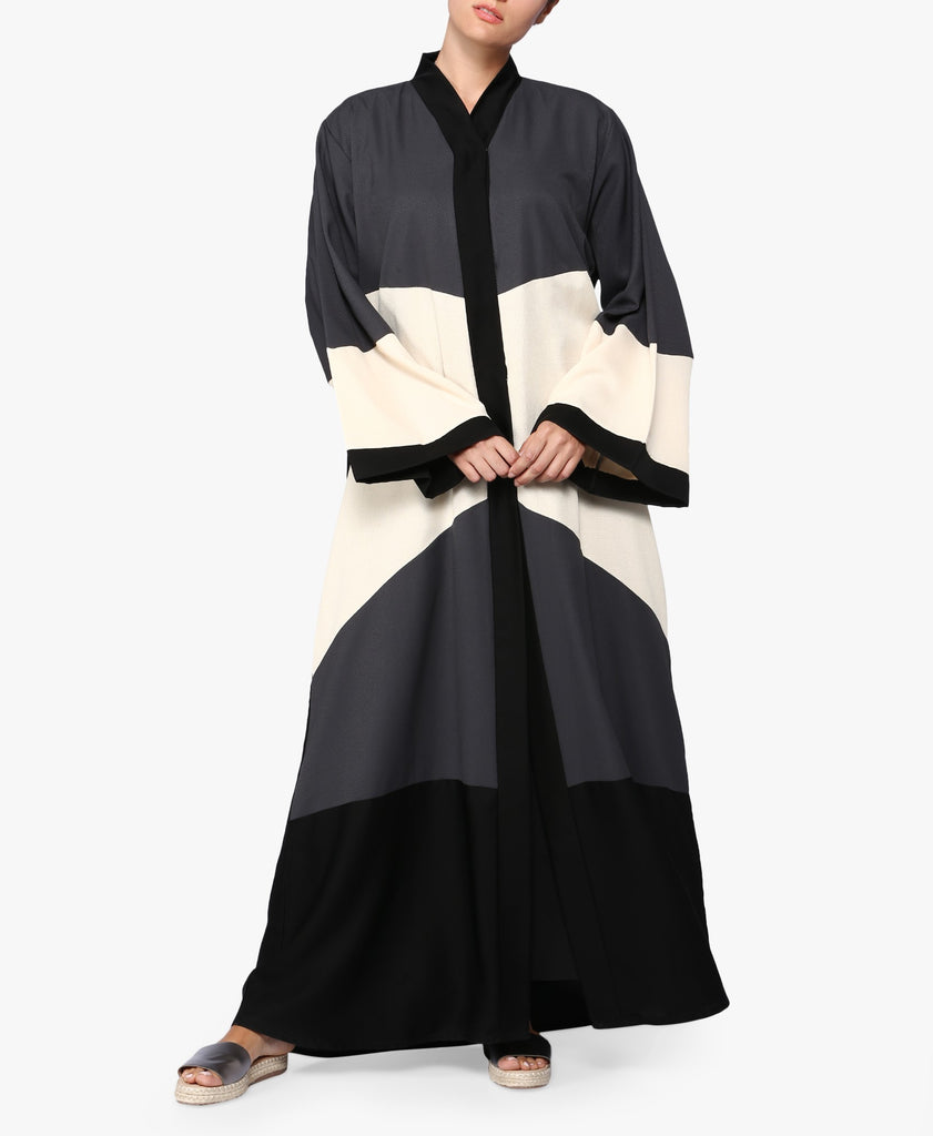 Grey Multicolour Colour Block Abaya