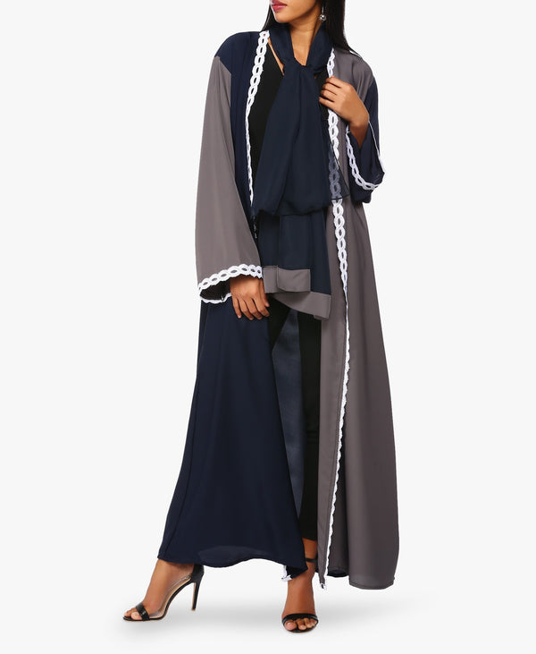 Navy Blue And Grey Two-Tone Lace Abaya