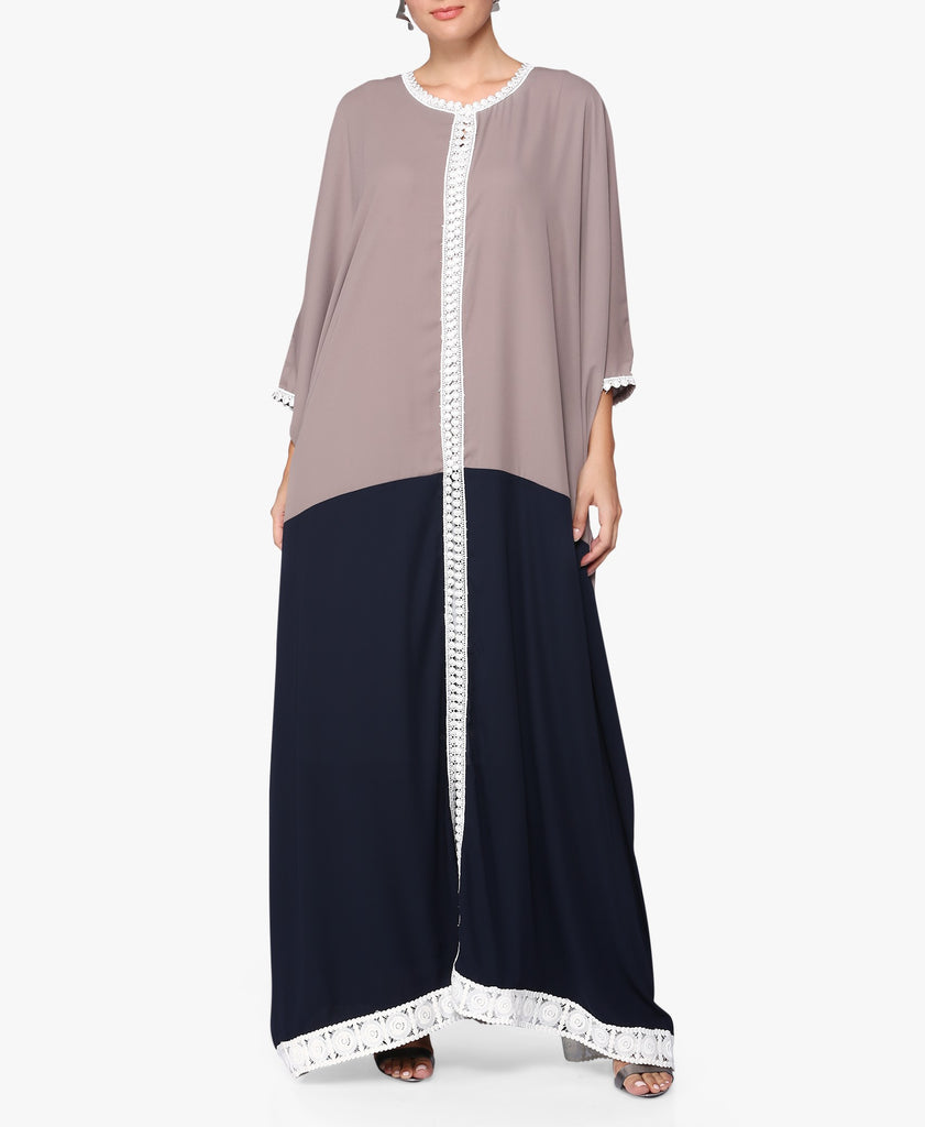 Taupe Colour Block Abaya