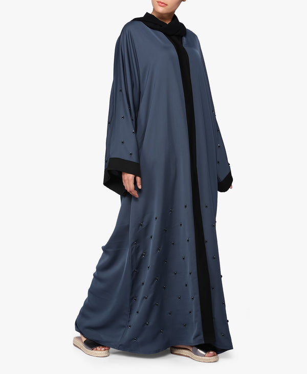 Gunmetal Grey Beaded Abaya