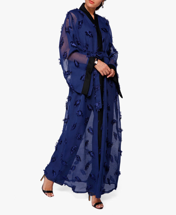 Navy Textured Pattern Abaya