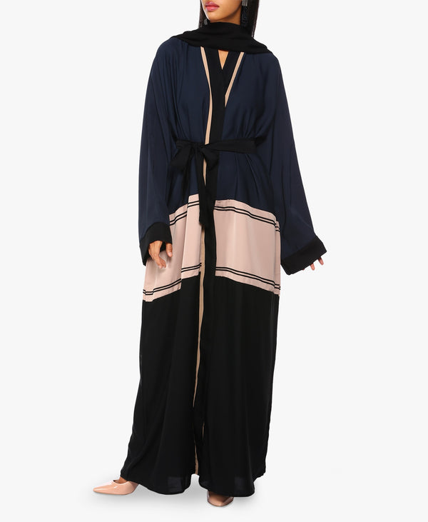 Navy Blue Black And Pink Three-Tone Abaya