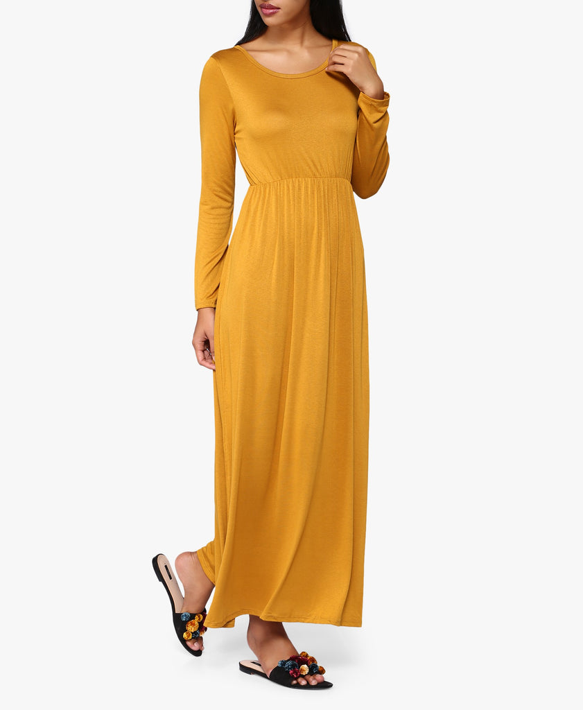 Mustard Long Sleeve Maxi Dress