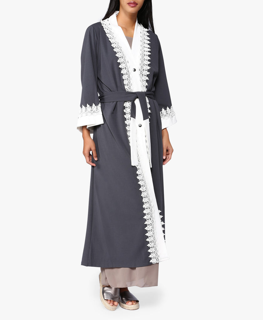 Grey Contrast Embroidered Trim Abaya