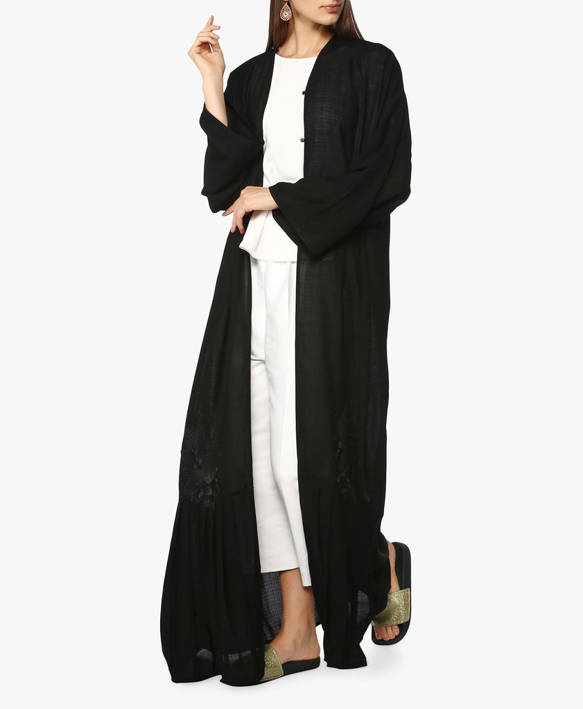 Black Floral Patch Abaya