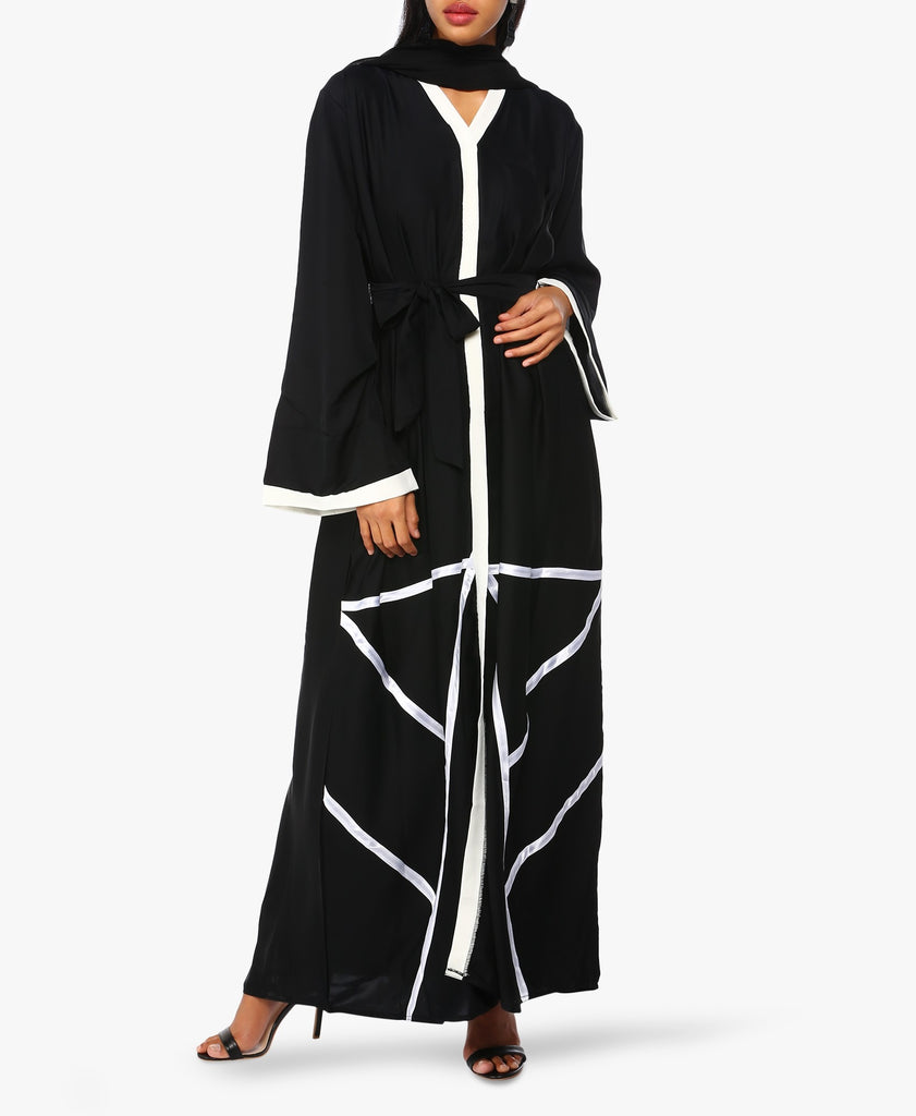 Black And White Hem Abaya