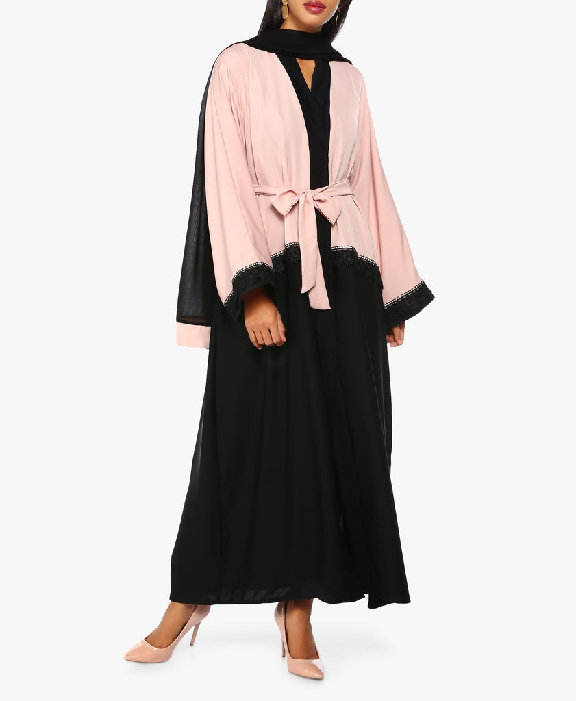 Pink And Black Two-Toned Abaya