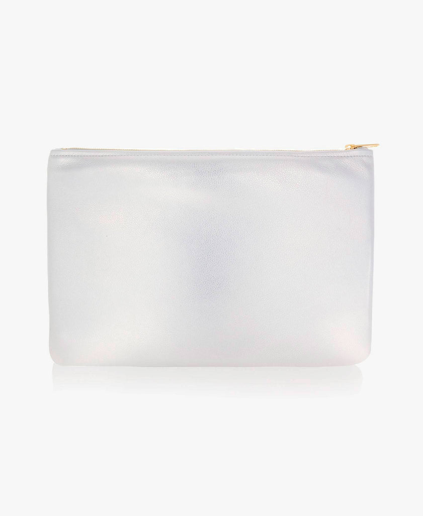 Medium Metallic Leather Carry-All Pouch
