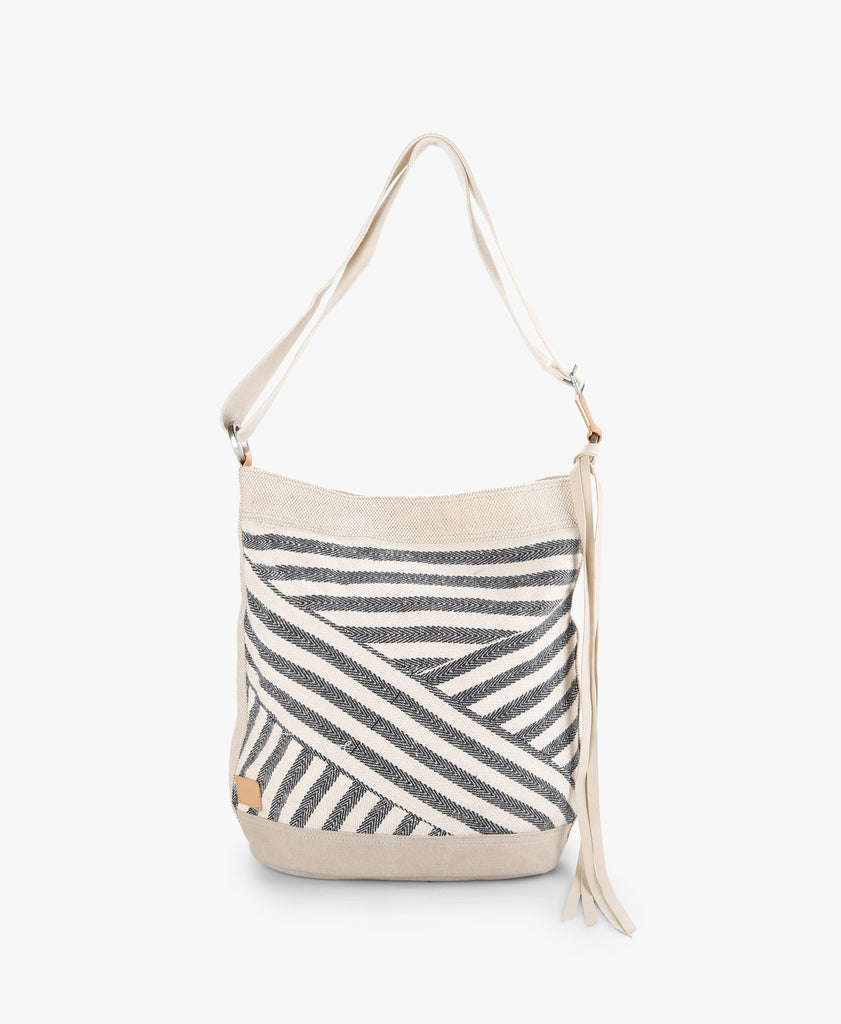 Navy Riviera Stripe Mix Bucket Bag