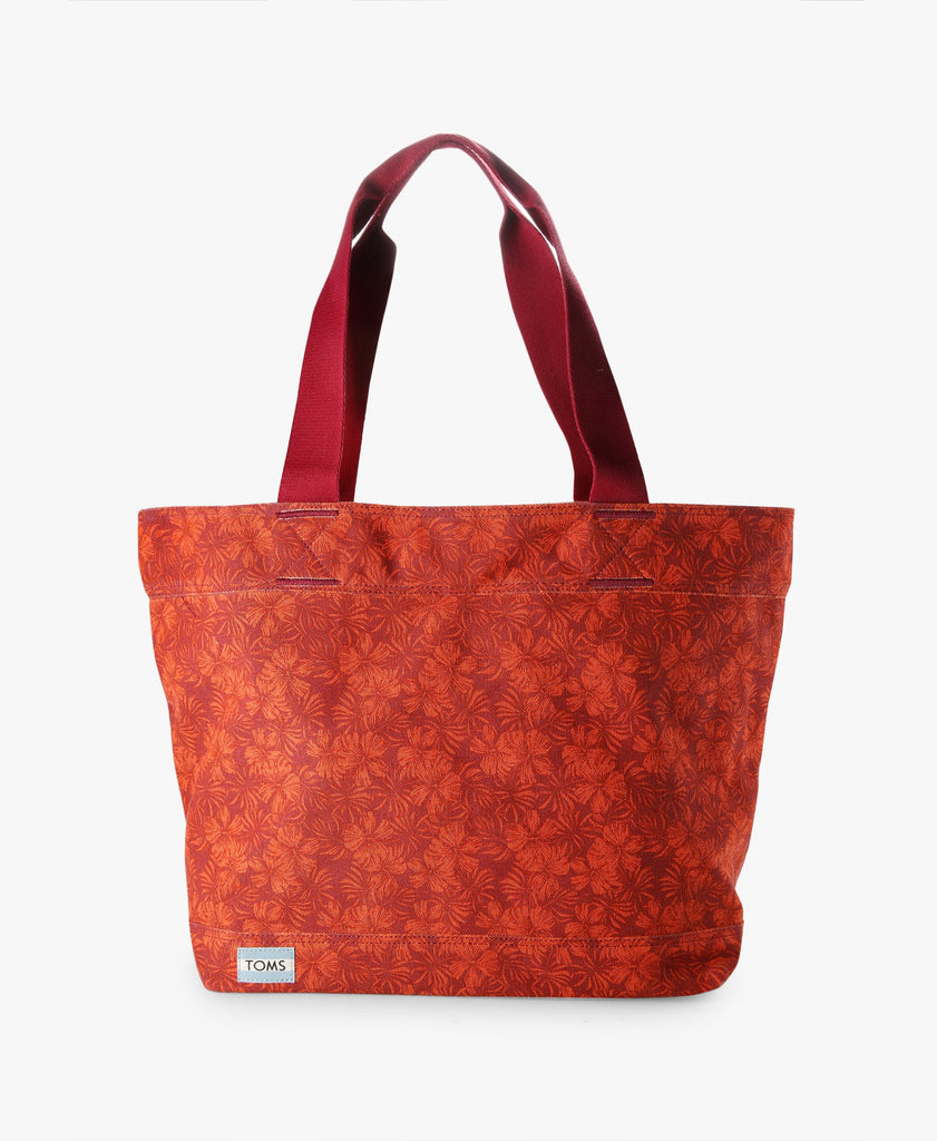 Cerise Transport Hibiscus Printed Canvas Tote