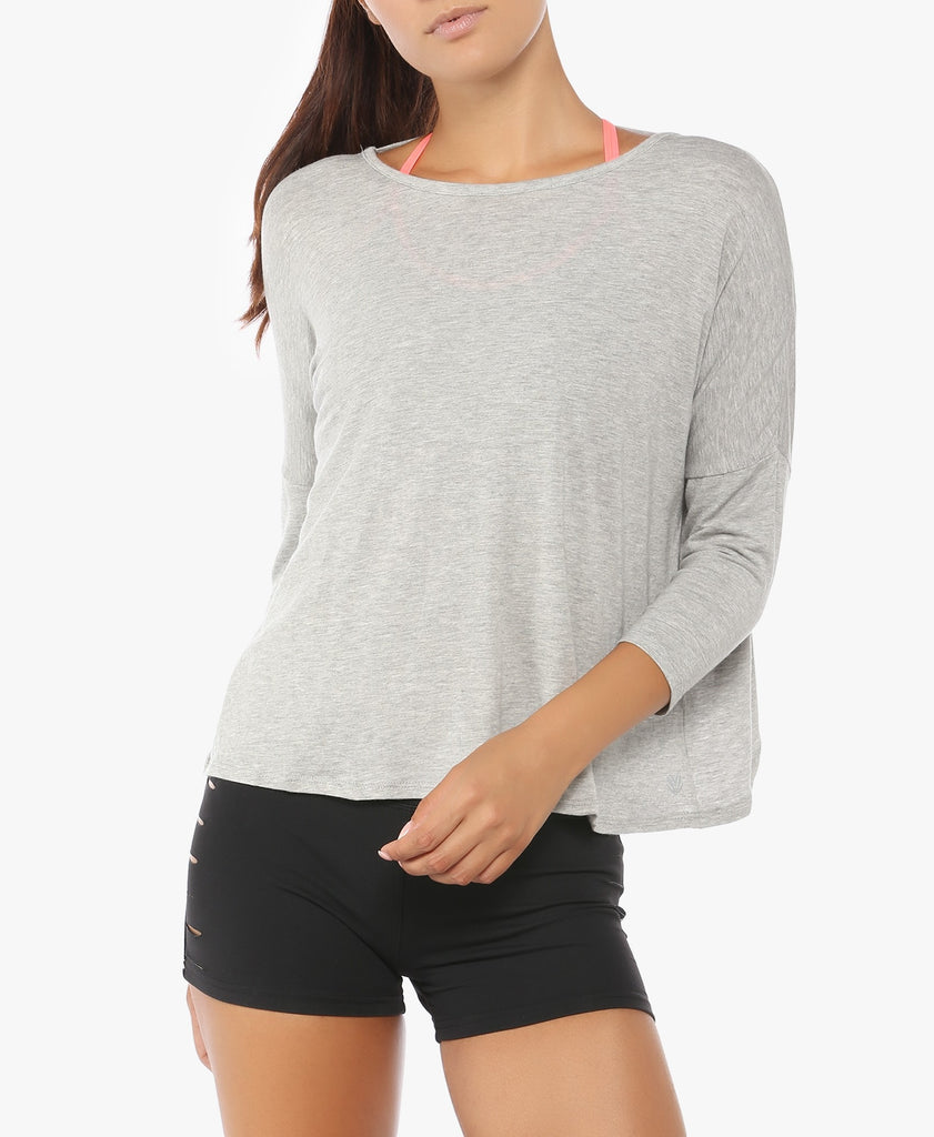 Grey Active Flowy Twist Pullover