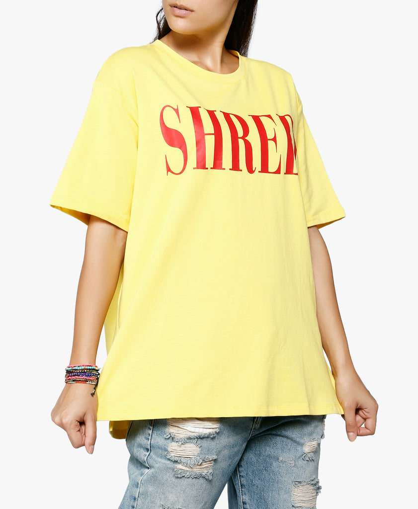 Yellow Oversized Shred Graphic Tee