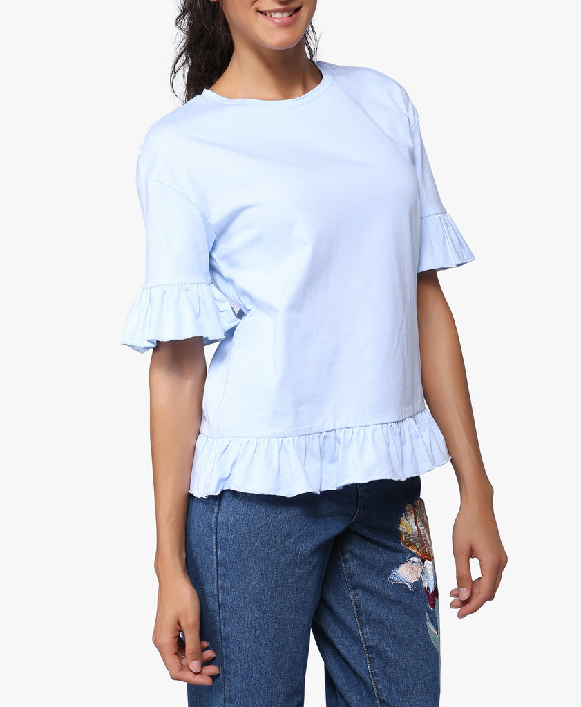 Light Blue Frill Trim Tee