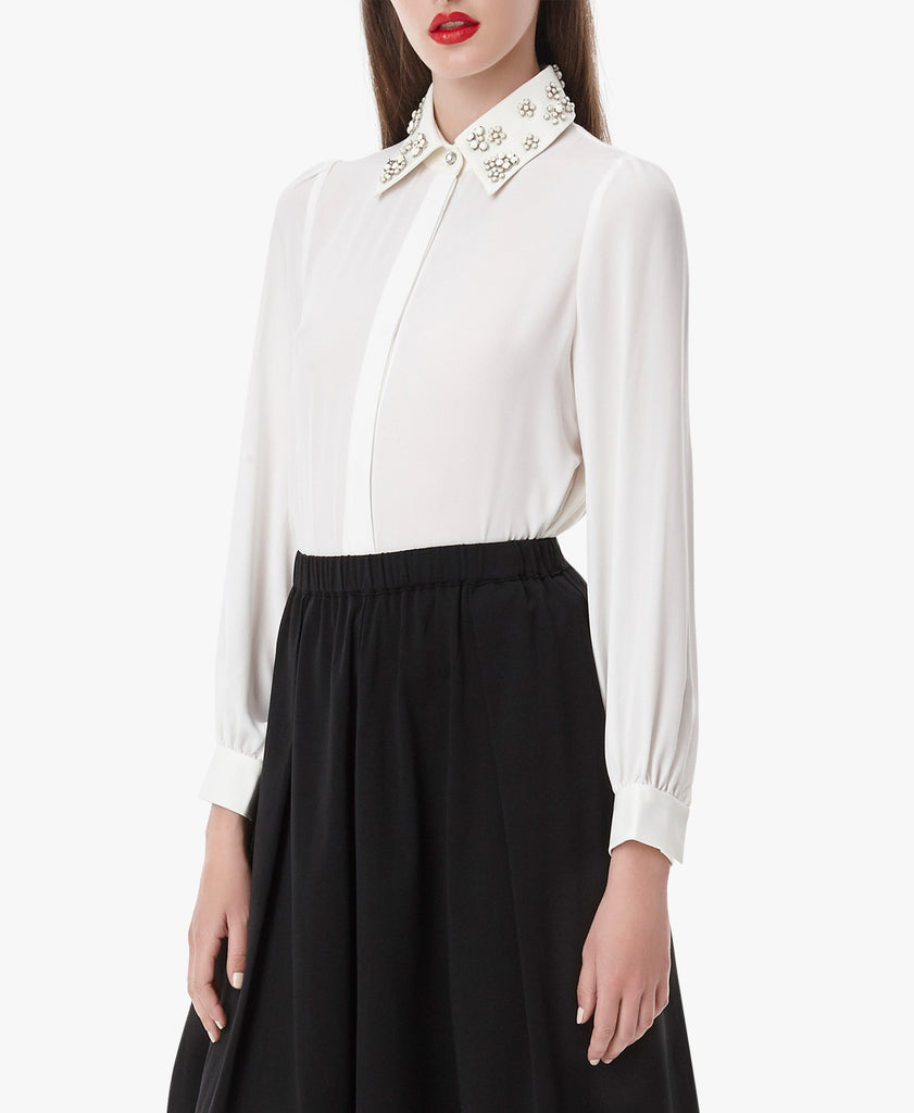 White Embellished Collar Shirt