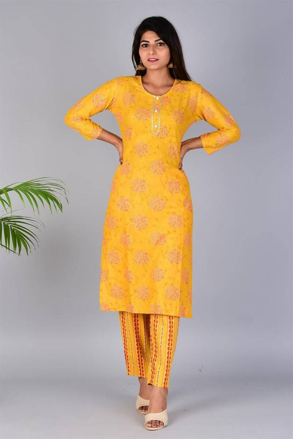 SUNSIM FASHION - Paaru - Cotton Printed Straight Kurti with Pant