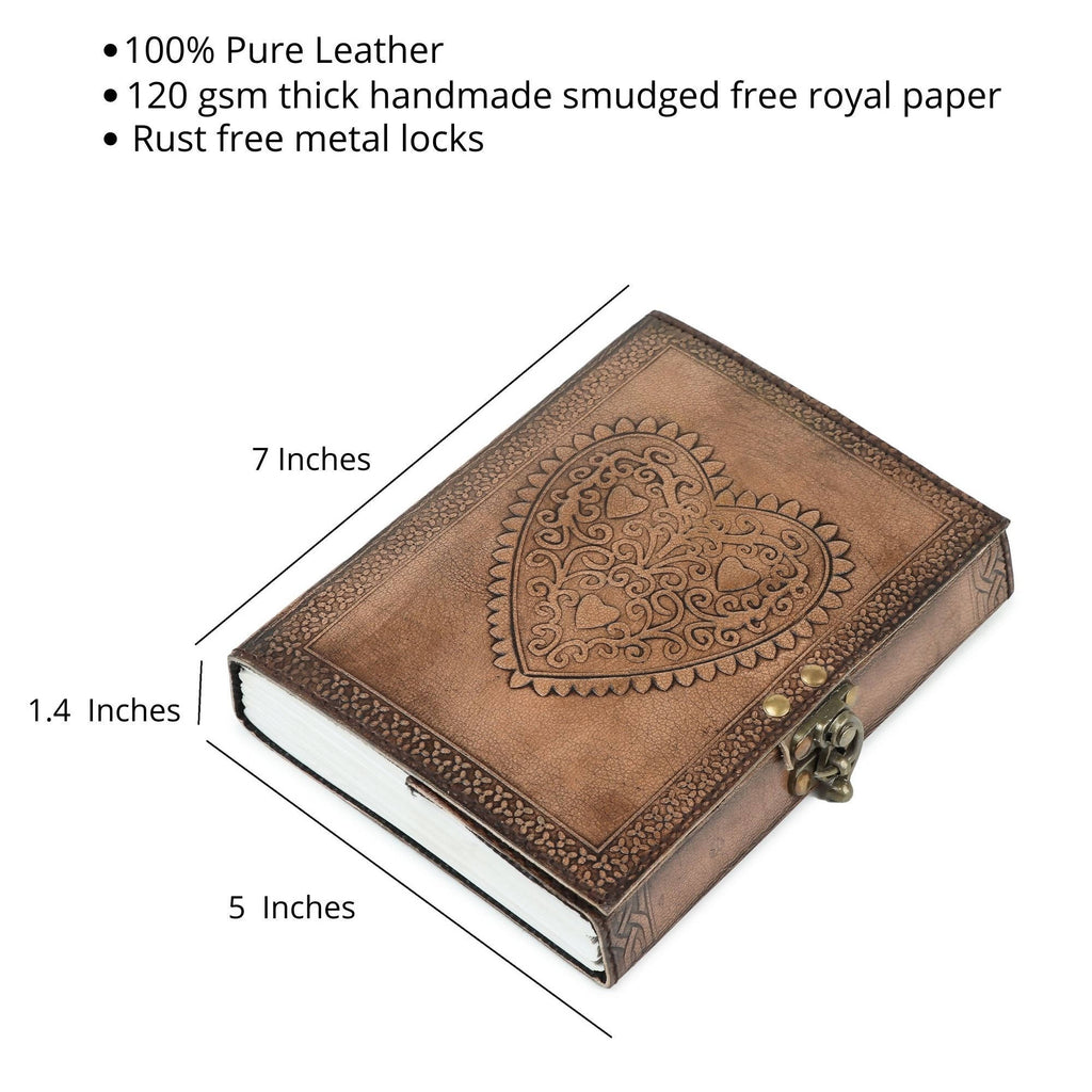 Pedemilan Pure Brown Heart Embossed Leather Handmade Diary/Journal for Proffesionals & Students. (Size-7x5 inch, Paper- 120 GSM Leak Proof)