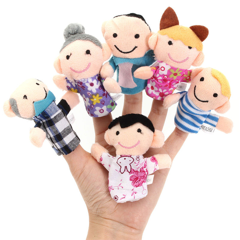 Set of 6 Family Member Finger Puppet Soft Toys Play Story Boys Girls Party Favor