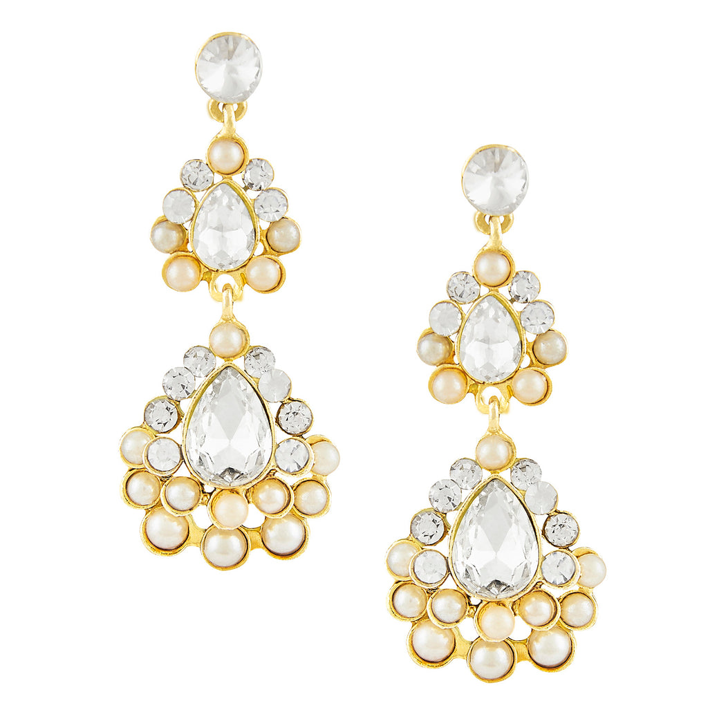 Shining Jewel Gold Plated Chandelier Earrings with Pearls, Crystals & Diamontes (SJ_04)