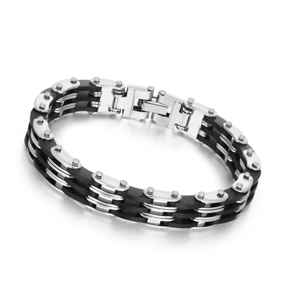 Simple Men's Jewelry Stainless Steel Chain Genuine Leather Bracelet Gift for Men