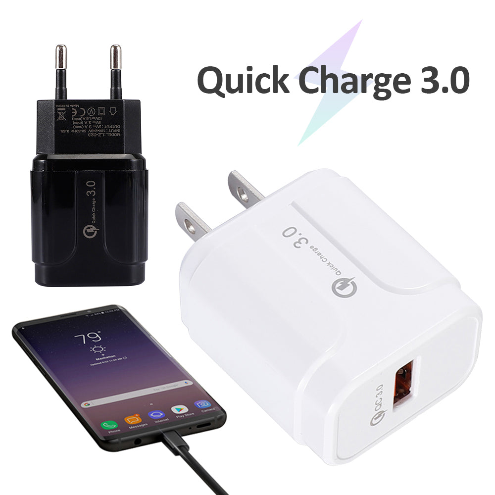 Single USB Fast Charge 3.0 Fast Mobile Phone Charger شاحن EU / US Plug Travel USB Wall Charger Adapter for IPhone Samsung Xiaomi Huawei