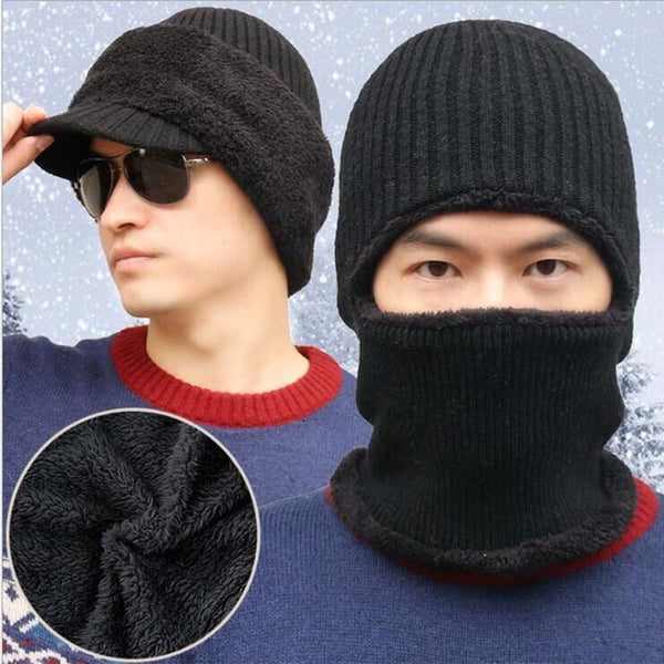 Striped Neck Warmer Knitted Hat Scarf Set Fur Wool Lining Thick Warm Knit Beanies Balaclava Winter Hat for Men Women Cap Bonnet