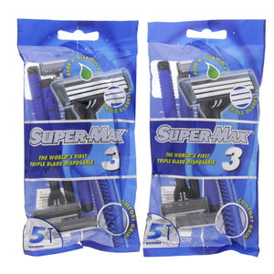 Super-Max Triple Blade Disposable Razor 5pcs