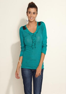 Teal Full Sleeves Top-Remanika