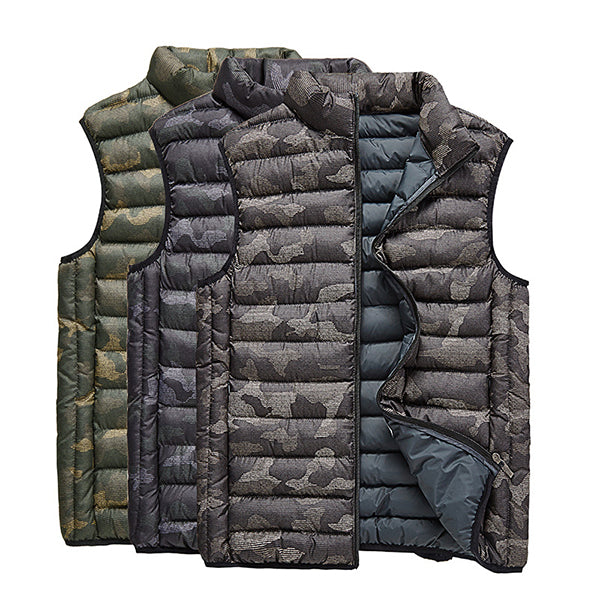 Thick Warm Camo Printing Vest Stand Collar Sleeveless Insulated Down Jackets for Men