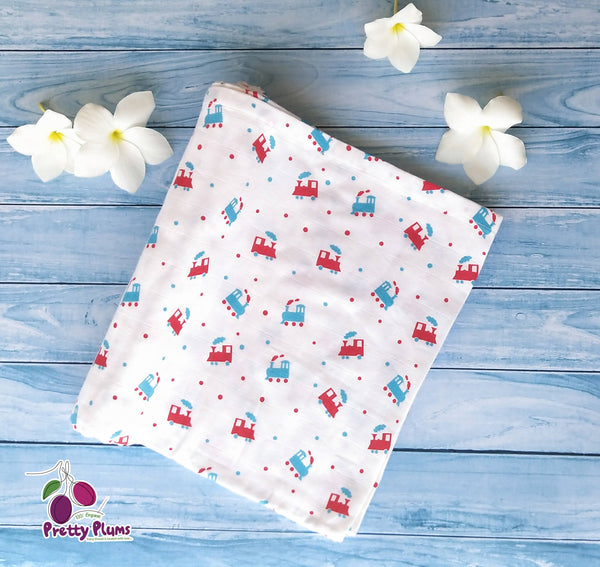 Organic cotton swaddle/blanket with train design