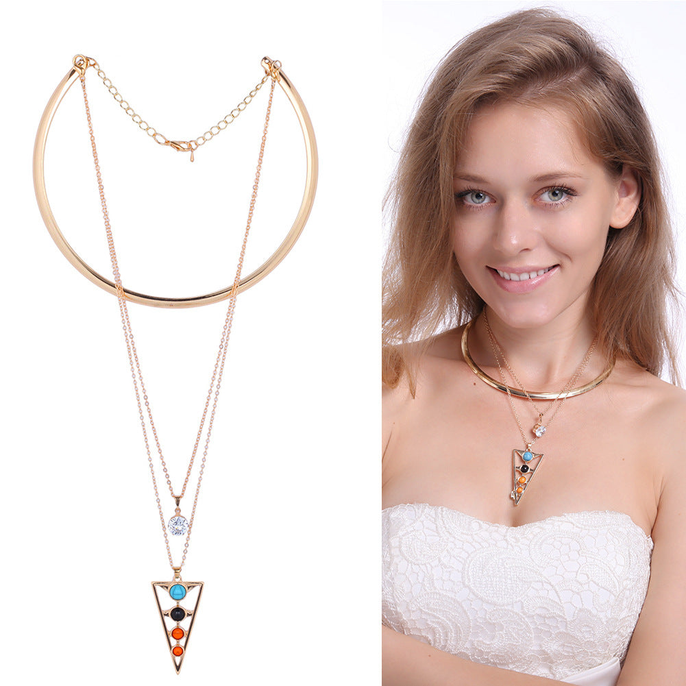 Turquoise Crystal Tassel Collar Chain Multilayer Pendant Necklace