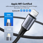 Ugreen MFi USB C Lightning Cable for iPhone X XS Max XR 18W PD Fast Charger USB Type C Data Data Cable for Macbook iPad Pro USB Cord