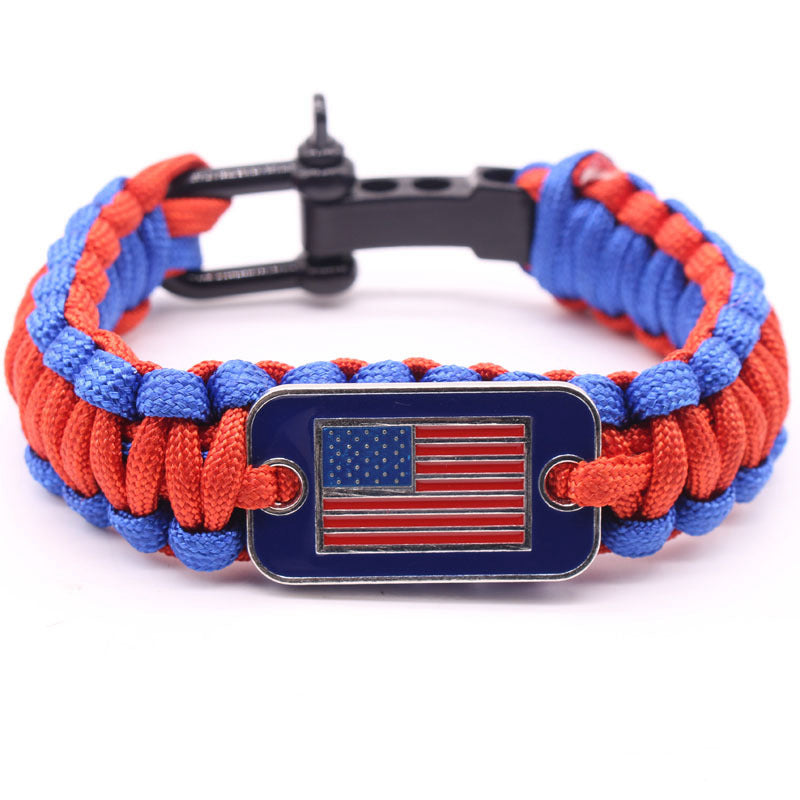 Unisex Clothing Accessories Durable Simple Style Hand Knitting Parachute Cord American Flag Bracelet