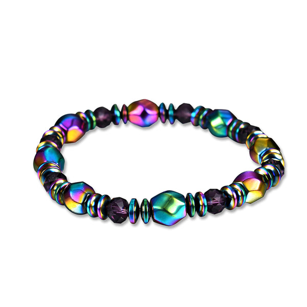 Unisex Colorful Healing Magnet Stone Bracelet Artificial Crystal Chain Healthy Jewelry