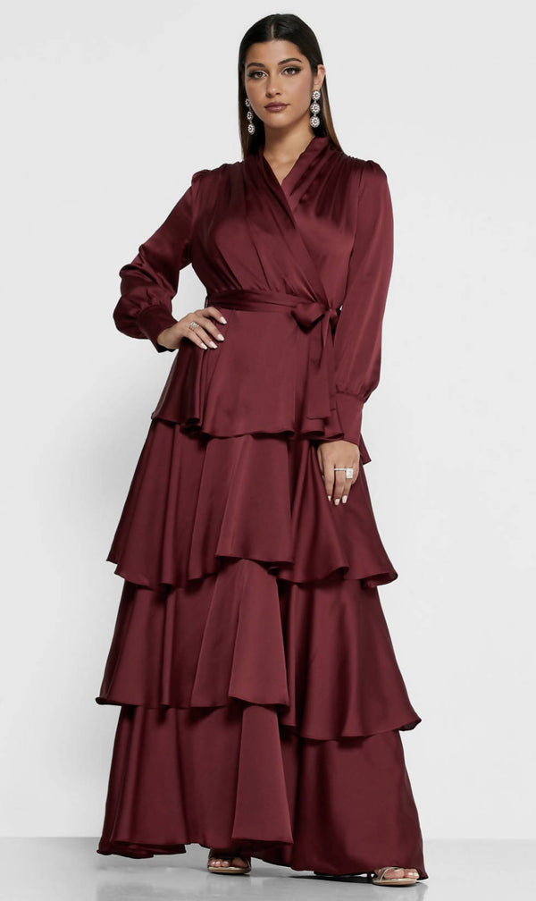 KHIZANA Satin Wrap Front Tiered Maxi Dress