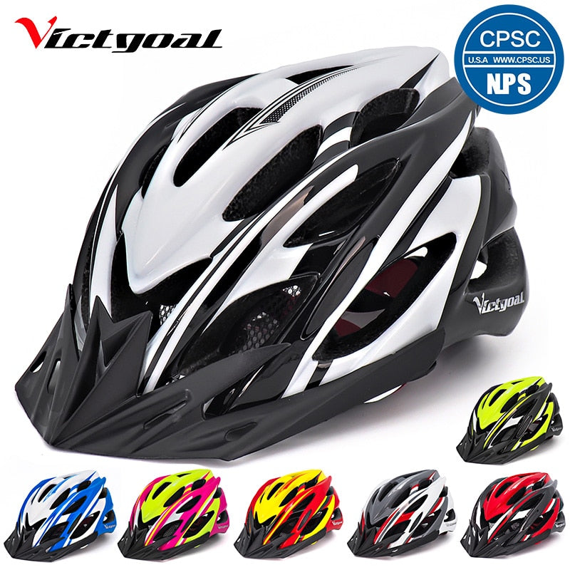 VICTGOAL Bicycle Helmet Light Cycling Helmet Sun Visor Led Backlight Safety MTB Mountain Road Bike Helmets Integrally Molded
