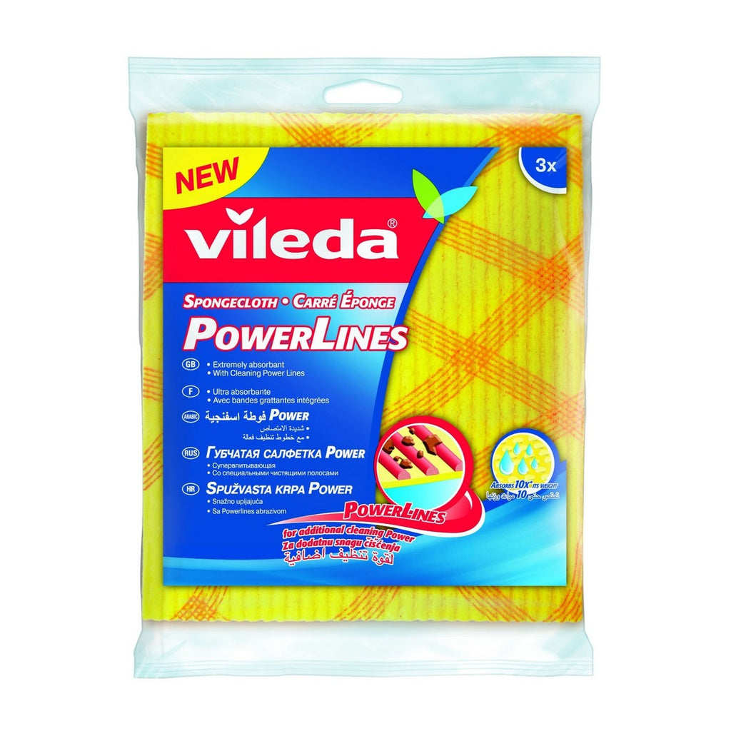Vileda Sponge Cloth Abrasive Power Lines Cleaning Cloth 3pcs