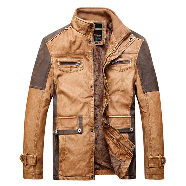 Vintage Faux Leather Patchwork Pockets Motocycle PU Jackets