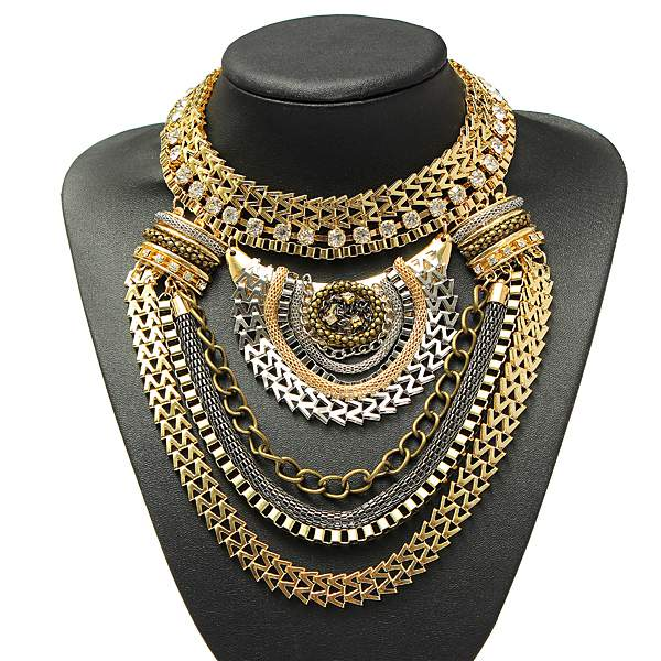 Vintage Gold Silver Crystal Multilayer Bib Statement Collar Necklace