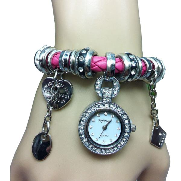 Vintage Knitted Band Pendant Crystal Bracelet Women Watch