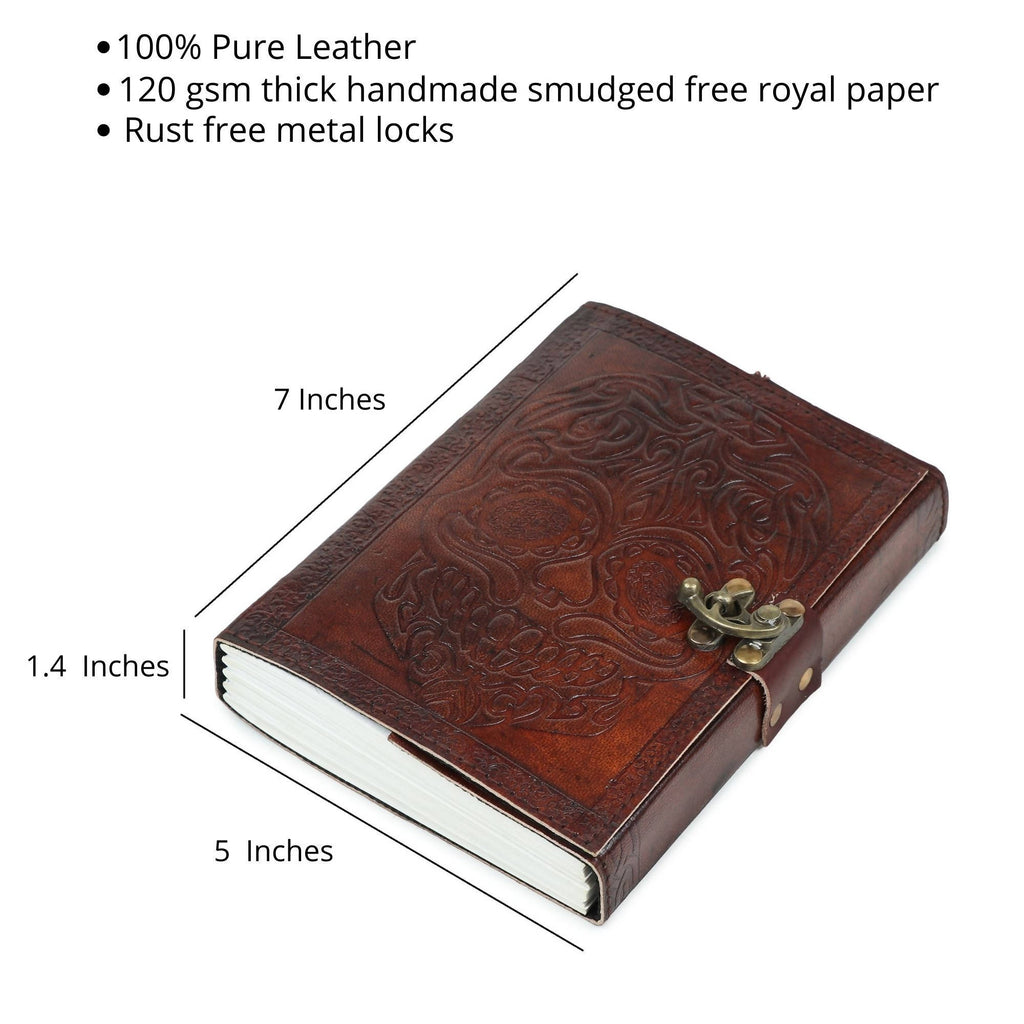 Pedemilan Pure Lucky Skull Embossed Leather Handmade Diary/Journal for Proffesionals & Students. (Size-7x5 inchs, Paper- 120 GSM Leak Proof)