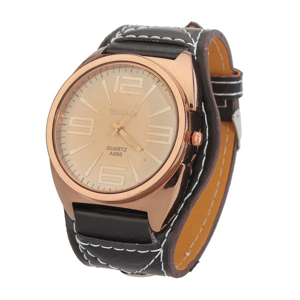 WAMAGE Fashion Big Dial Analog Quartz Leather Women Wrist Watch