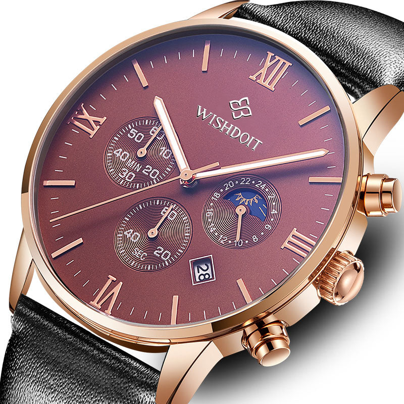 WISHDOIT WSD-20 Luxury Male Leather Strap Quartz Watch
