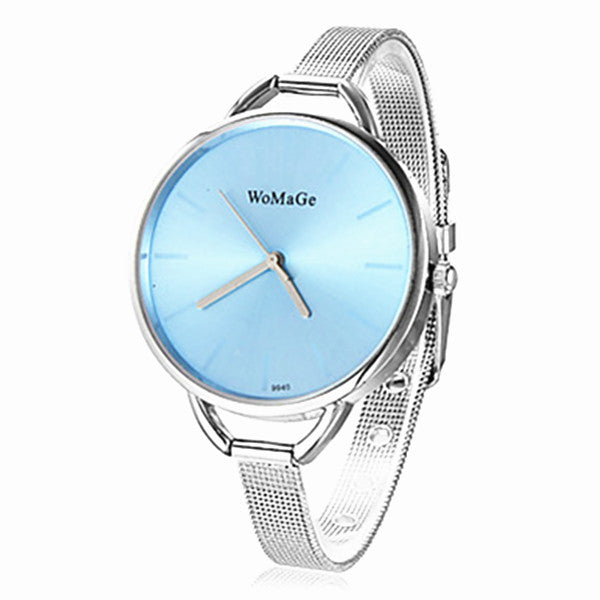 WOMAGE WOMAGE-9940 Fashion Women Grid Steel Band Bracelet Quartz Watch