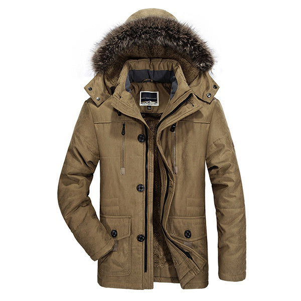 Winter Velvet Plus Thick Warm Windproof Waterproof Hooded Outdoor Jacket Parka